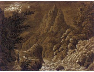 Ideale Gebirgslandschaft mit Wasserfall, Caspar David Friedrich