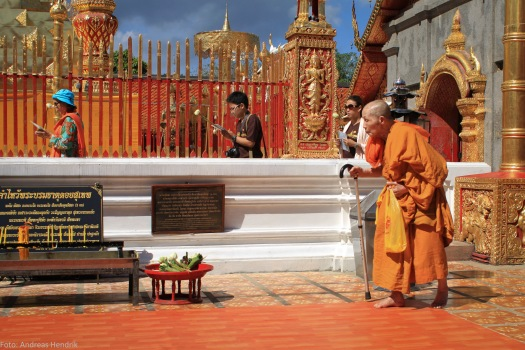 Thailand, Chiang Mai, Od Monk with a stick rushing by in the temple