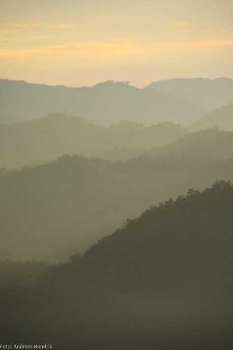 Thailand Landscape mountains ins the sunset