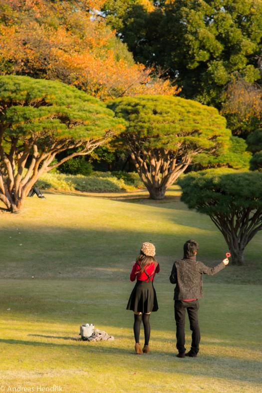 Teenpaar im Park mit Seifenblasen