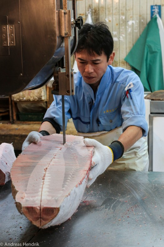 Thunfisch tiefgekühlt wird zersägt
