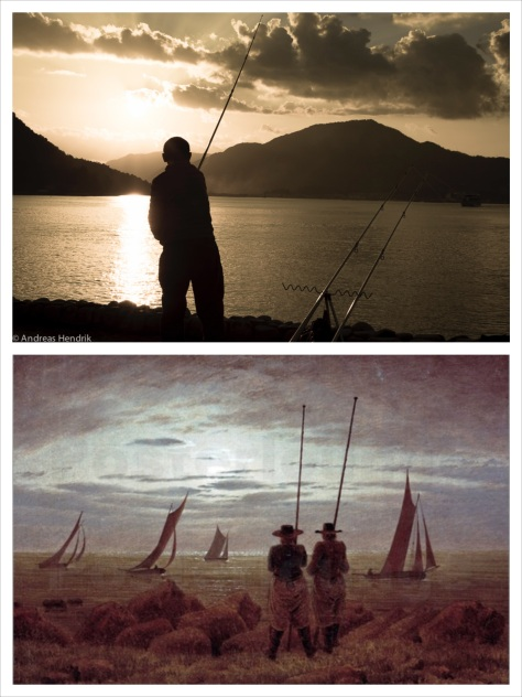 nach C.D. Friedrich_Angler am Meer_Collage