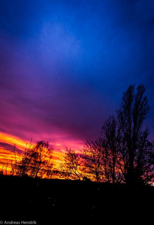 Orkan Xaver über der untergehenden Sonne im Taunus I