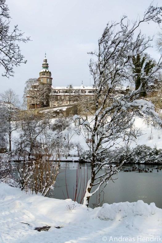 20150131SCHLOSS im Schnee See Schlosspark Bad Berleburg
